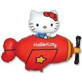 Globo grande Kitty en avion rojo 80cm