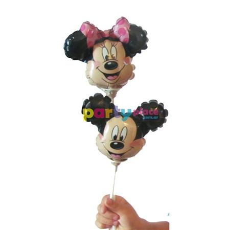 Globo mini cabezas metalizadas Minnie o Mickey 1u