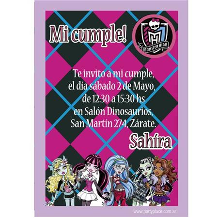 Invitación Monster High. Personalizadas 8u